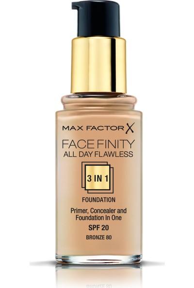 Max Factor FaceFinity 3'ü 1 Arada Kalıcı Fondöten 80 Bronze
