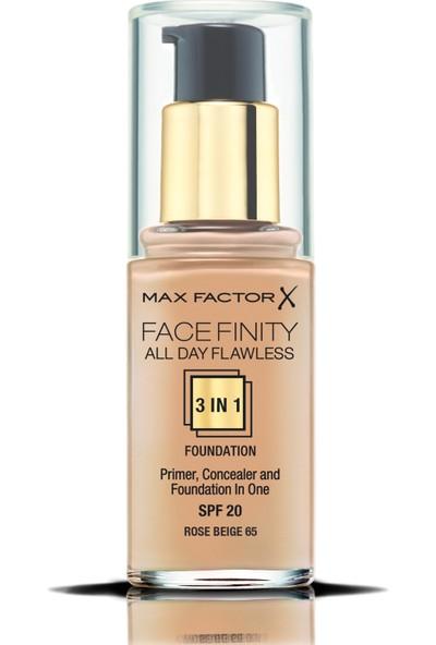 Max Factor FaceFinity 3'ü 1 Arada Kalıcı Fondöten 65 Rose Beige