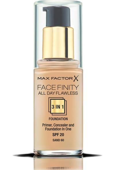 Max Factor FaceFinity 3'ü 1 Arada Kalıcı Fondöten 60 Sand