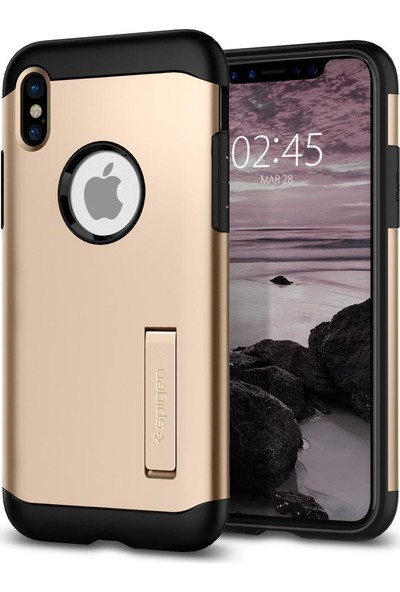 Spigen Apple iPhone XS / iPhone X Kılıf Slim Armor Champagne Gold - 057CS22136
