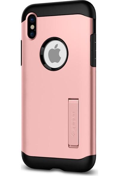 Spigen Apple iPhone XS / iPhone X Kılıf Slim Armor Rose Gold - 057CS22139