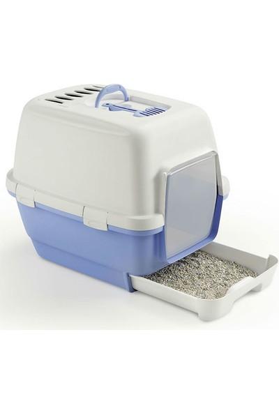 Stefanplast Cathy Clever Çekmeceli Kapalı Kedi Tuvalet Kabı Mavi 45X58X48H Cm