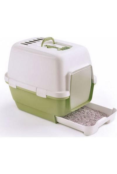 Stefanplast Cathy Clever Çekmeceli Kapalı Kedi Tuvalet Kabı Yeşil 45X58X48H Cm