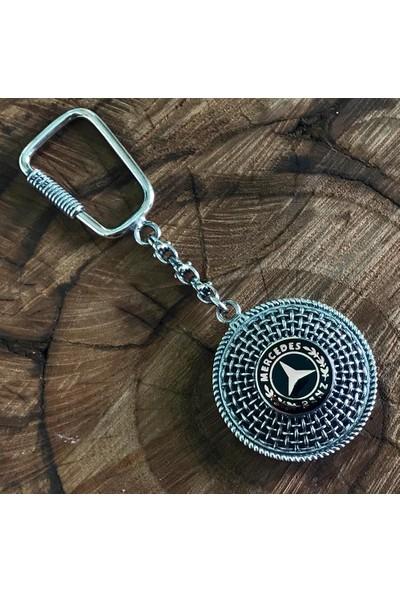 Midyat Nurtaş Gümüş Mineli Mercedes Benz Amblemli Midyat Telkari El İşçiliği Gümüş Anahtarlık 20105944
