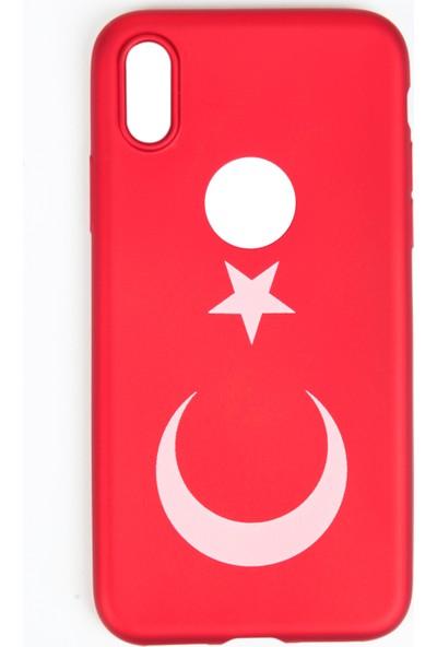 Orange iPhone 8 Türk Bayrağı Baskılı Koruma Kılıfı