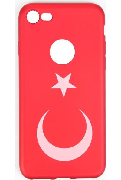 Orange iPhone 7 Türk Bayrağı Baskılı Koruma Kılıfı