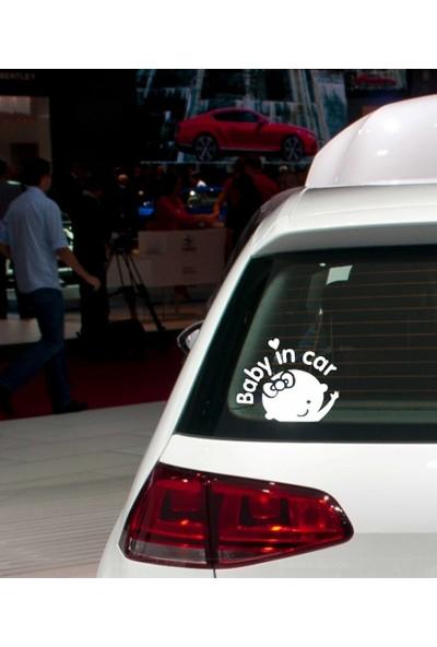 Stickermarket Baby in car Beyaz Sticker