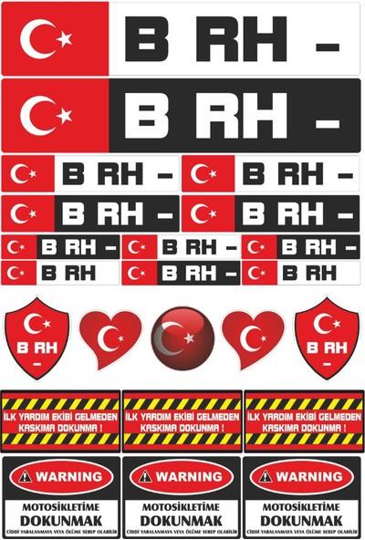 Stickermarket B RH Negatif Motosiklet Sticker Seti