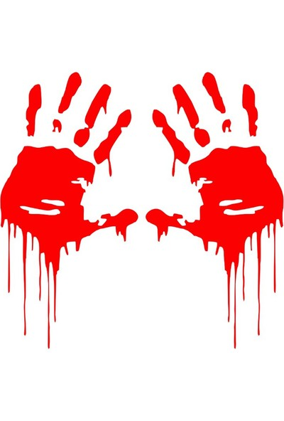 Stickermarket Kanlı Eller Kırmızı Sticker