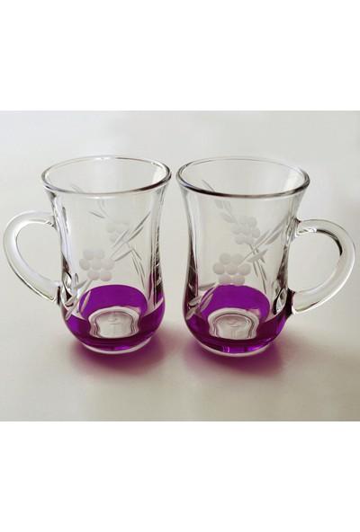 Paşabahçe Keyif Kulplu Papatya(Mor ) Çay Bardağı 12 Adet