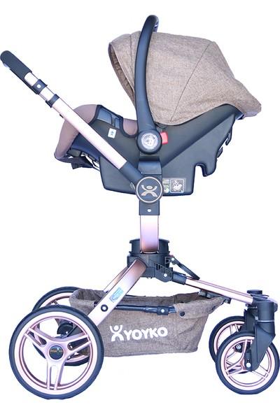 Yoyko 360 Derece Dönebilen Bebek Arabası 3 in 1 Kahve Rose Kasa