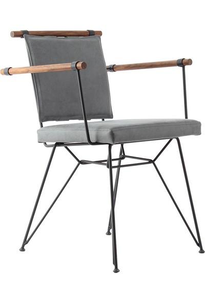 Ak Sandalye Endustrıyel Apyza Metal Ahşap Sandalye