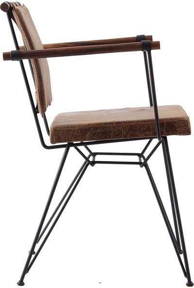 Ak Sandalye Endustrıyel Apyzn Metal Ahşap Sandalye