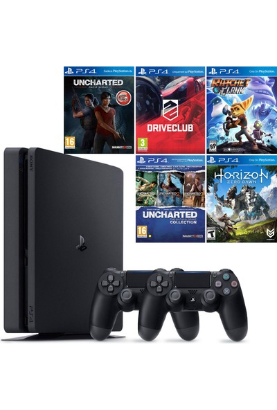 Sony Playstation 4 Slim 500 GB Konsol + 2. Ps4 Kol + Uncharted Kayıp Miras + Driveclub + Ratchet and Clank + Uncharted Coll. + Horizon