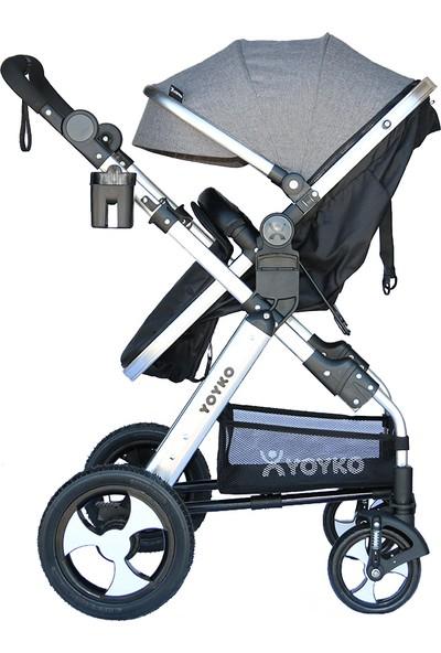 Yoyko Luxury Travel Sistem Bebek Arabası 3 in 1 Gri Silver