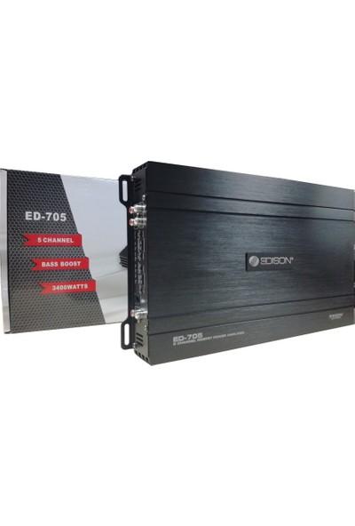 Edison Ed-705 3400 Watt 5 Kanallı Oto Amplifikatör