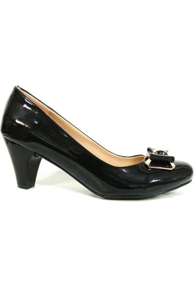 Elberdi 3234 Siyah Rugan Topuklu Bayan Ayakkabı
