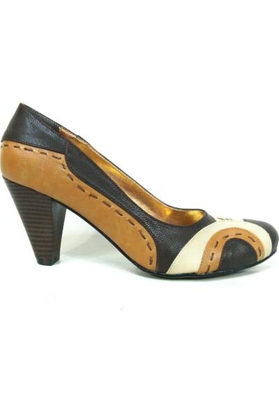 Elberdi Kahverengi Bej Taba Topuklu Bayan Ayakkabı