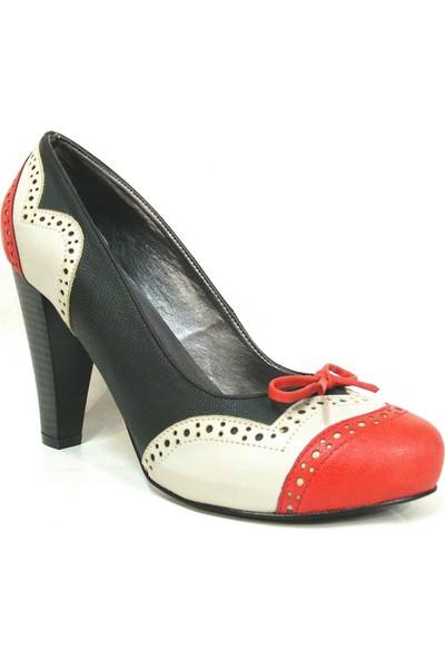 Elberdi Siyah Kırmızı Bej Bayan Platform Ayakkabı