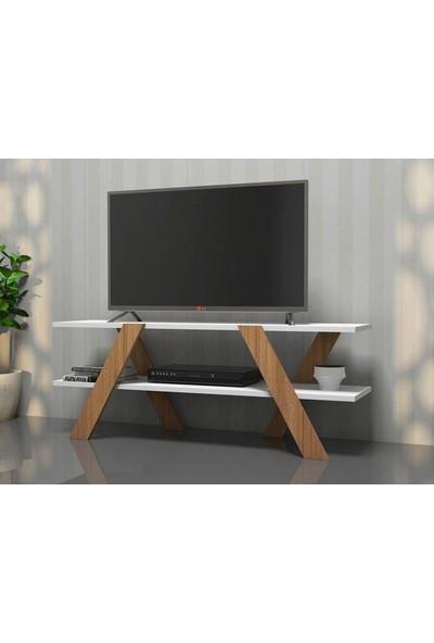 Basic Tv Ünitesi Ahşap Ayaklı - Sade Tasarım ve Kolay Kurulum Tv Sehpası Beyaz Ceviz