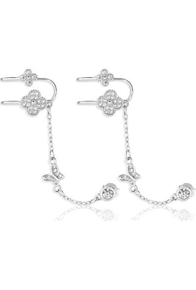 Khailo Silver Zincirli Dört Yapraklı Yonca Ear Cuff E1085Ww