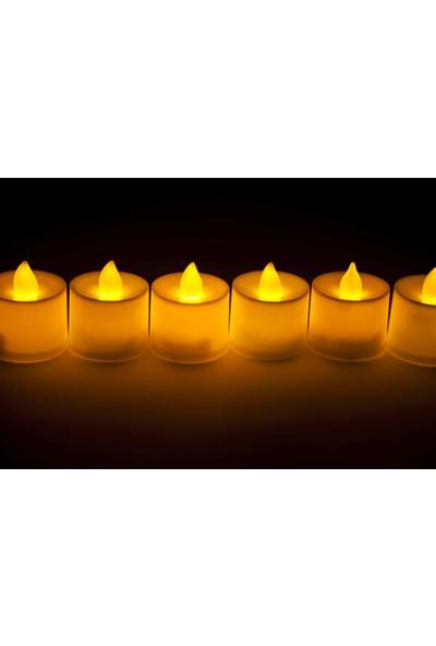 Led Tealight Mum Sarı Işık 12 Adet