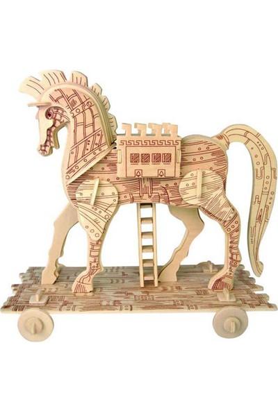 İdeal 3D Büyük Ahşap Maket Truva Atı 56 Parça