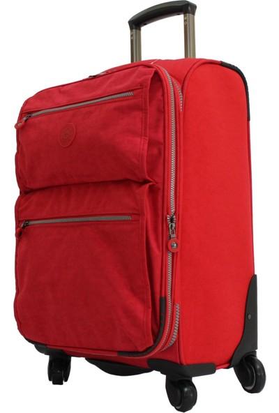 Lüx Kumaş Valiz Mçs Kırmızı Kabin Boy