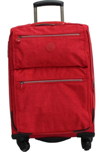 Mçs V111 3 Kırmızı 2 Krinkle Kumaş Kabin Boy Valiz Bavul
