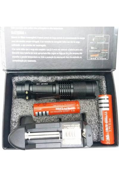 Kama Star Km-87 Zoomlu Cep Feneri Şarjlı