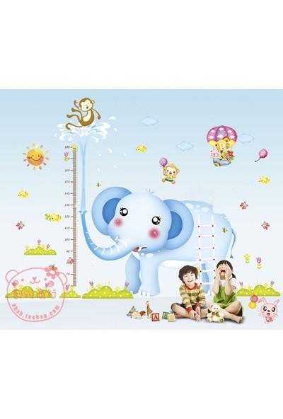 Zooyoo Gelişim Boy Ölçer Boy Tablosu Büyük Boyut Tavşan Fil Maymun Kedi Çocuk Odası Ev Duvar Sticker