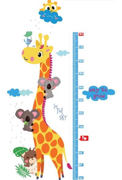 Zooyoo Gelişim Boy Ölçer Boy Cetvel Zürafa Koala Güneş Bulut Görsel Çocuk Odası Ev Sticker Duvar Çıkartması Pvc