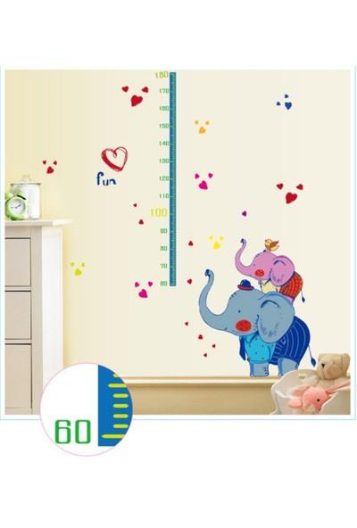Zooyoo Gelişim Boy Ölçer Boy Tablosu Büyük Boyut Fil Çocuk Odası Ev Duvar Sticker