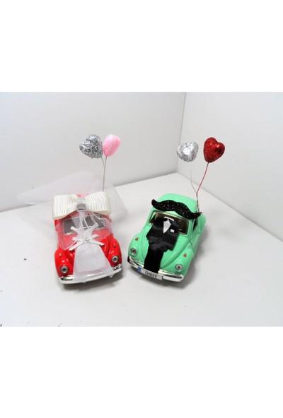 Hediye Aşkı Kişiye Özel Plakalı Kırmızı Yeşil Süslü Gelin Damat Vosvos Hediye Seti Sevgiliye Hediye