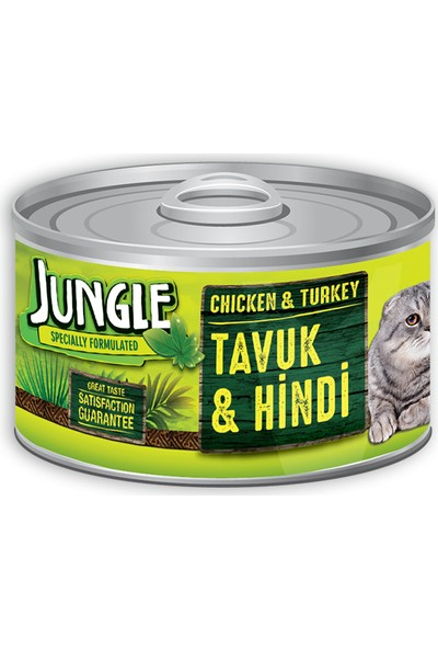 Jungle Kedi 85 Gr Tavuklu-Hindili Yaş Ezme Mama Konserve
