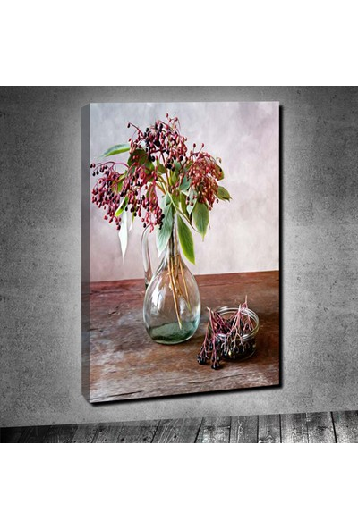 Decobritish Yağlı Boya Vazo ve Çiçek Tek Parça Kanvas Tablo 40 x 60 cm