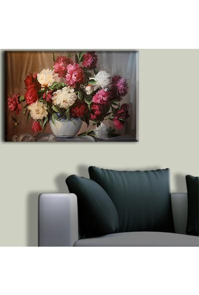 Tablo Art House Yağlıboya Kırmızı Beyaz Çiçekler Tek Parça Kanvas Tablo 30 x 40 cm