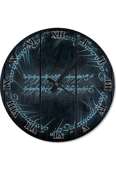 Tablomega Yüzüklerin Efendisi Elfçe Sessiz Duvar Saati 50 X 50 Cm