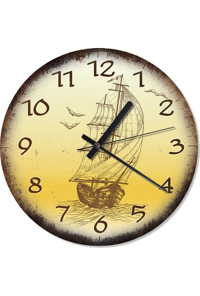 Tablomega Yelkenli Gemi Duvar Saati 30 X 30 Cm