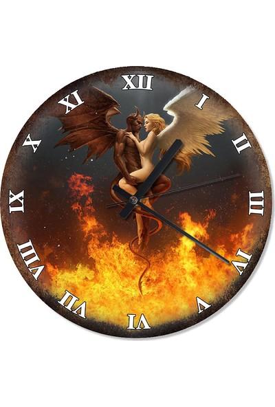 Tablomega Eskitilmiş Zeminde Melek Şeytan Mutafak Tipi Duvar Saati 30 X 30 Cm