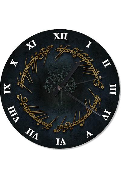 Tablomega Yüzüklerin Efendisi Sembolü Dekoratif Duvar Saati 30 X 30 Cm