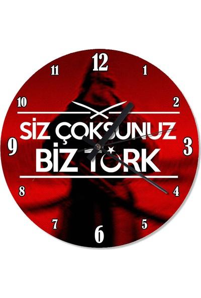 Tablomega Siz Çoksunuz Biz Türk Tasarım Duvar Saati 30 X 30 Cm
