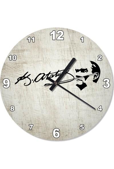 Tablomega Çizik Zeminde Atatürk İmza Tasarım Duvar Saati 30 X 30 Cm