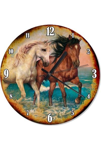Tablomega Beyaz Ve Kahverengi Atlar Sessiz Duvar Saati 30 X 30 Cm