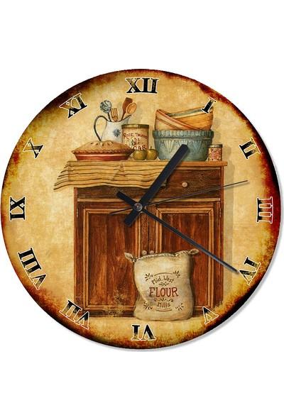 Tablomega Mutfak Dolabı Retro Duvar Saati 30 X 30 Cm