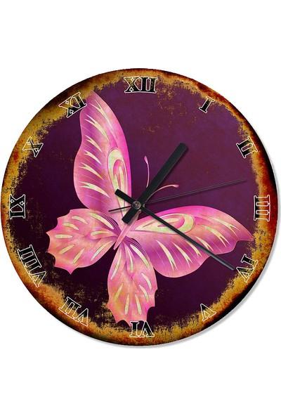Tablomega Mor Kelebek Tasarım Duvar Saati 30 X 30 Cm