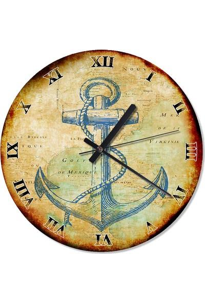 Tablomega Gemi Çapası Analog Duvar Saati 50 X 50 Cm