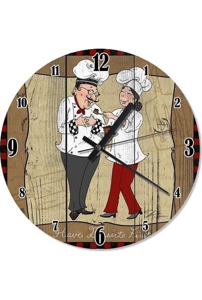 Tablomega Şef Aşçılar Mutfakta Akarlı Duvar Saati 30 X 30 Cm