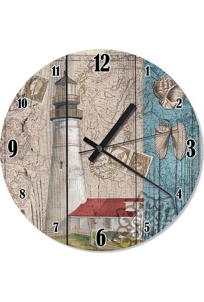Tablomega Beyaz Deniz Feneri Şekilli Duvar Saati 50 X 50 Cm