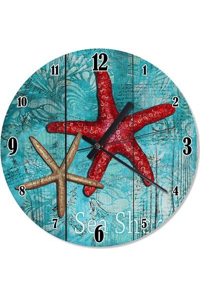 Tablomega Kırmızı Deniz Yıldızı Çocuk Odası Duvar Saati 30 X 30 Cm